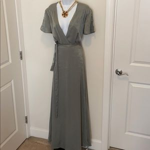Lulu's Moss Green Faux Wrap V-Neck Belted Maxi